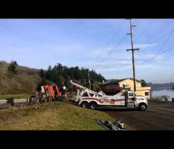 Truck & Trailer Loaded with Trusses Inverted Rollover Recovery - Wiltse's Towing