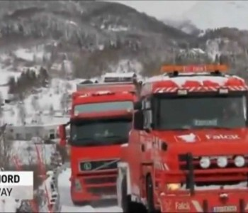 Trucks go over cliff in Norway